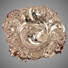 Antique Art Nouveau Repousse DAISY Silverplate Small Bon Bon Bowl or Nut Dish #262 by Eureka Silver Co. International Silver
