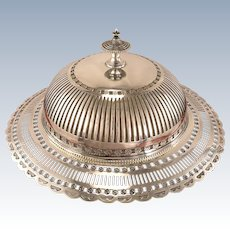 Antique Victorian English Sheffield Silver Plate Footed Round Dome Butter Dish With Glass Liner by Frederick Ellis Timm & Co.