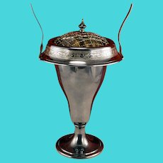 Antique Pairpoint Silverplate Footed Brides Basket Vase With Flower Frog Arranger and Chased Rolled Rim Art Nouveau Silver Plate