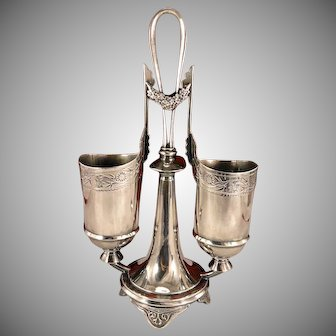 Antique Victorian Silver Plate Double Spoon Holder Footed Spooner by Rogers Smith & Co.