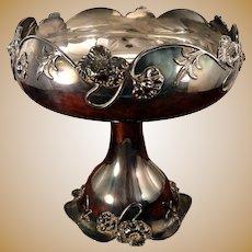 Antique Van Bergh Art Nouveau Quadruple Silver Plate Large Footed Centerpiece Fruit Bowl Compote