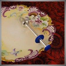 BLUE Enamel Guilloche Vintage Olive Picker Grabber Tongs Scharning Norway Silver Plate Unusual Barware Tool