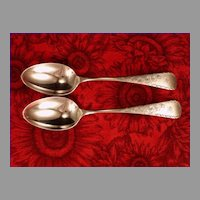 Pair Antique 1894 Aesthetic Gorham Sterling Silver Bright Cut Cherry Blossom Teaspoons