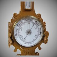 Aneroid Barometer - Thermometer weather instrument decorative interior painted carved hardwood.