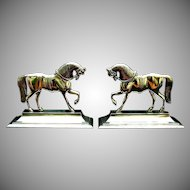 Antique Welsh Brass Horses Pair Folk Art.