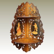 Italian Sorento Ware  19th Century  Fretted Olive Wood Corner Shelves Inlay Oval Panels.