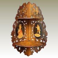 Italian Sorento Ware  19th Century  Fretted Olive Wood Corner Shelves Inlay Oval Panels.