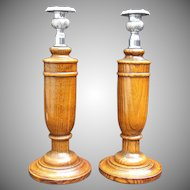 Wood Oak Turned Candlesticks Chromed Cast Brass Sconces Cork Varnish Art Deco.