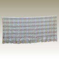 Welsh Wool Blanket Woven Fringe Vintage.