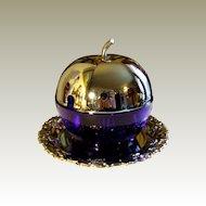 Art Deco Chrome Blue Glass Apple Preserve Pot England.