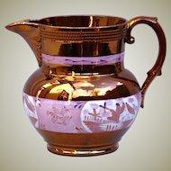 Antique English Staffordshire Copper Sunderland Lustre Pottery Pitcher c1840