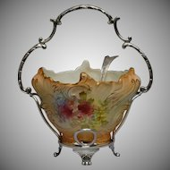 Pottery Crown Devon Fieldings Sugar Bowl EPNS Rococo Empire Spoon Antique