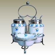 .   EPNS Stand 3 piece Porcelain table cruet spoon flower harebells maker George Jones 'Crescent' Ware