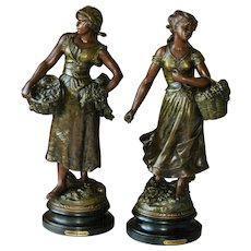Antique Bronze Spelter Figures France Realism
