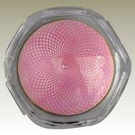Sterling Silver English Hallmark 1929 Pink Guilloche Enamel Cut Glass Powder Bowl