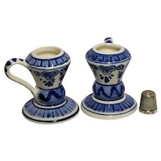 Vintage Delft Dutch Holland Elesva Blue & White Pottery Candle Sticks