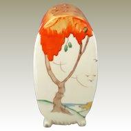 "Title .  Clarice Cliff Art Deco c1935 Sugar Sifter 5"" Bonjour Taormina Honey Glaze Black Mark Wilkinson Ltd. England Tree Orange Yellow Brown Leaf Seaside View Seagulls Sand Dune Blue Water"