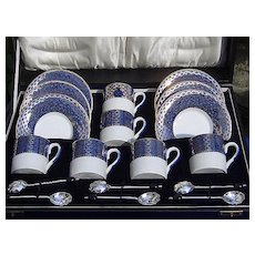 Pottery Coffee Set Woods Silver Presentation Box Early Vintage
