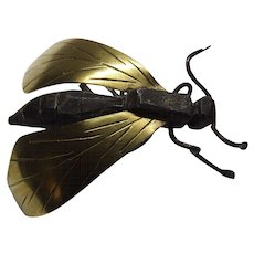 Japanese Antique Metal Insect Hornet Brass Wings Iron Body Wire Legs.