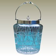 Silver Plate Art Deco Cut Glass Biscuit Barrel Early Vintage