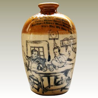 Whisky Advertising Victorian Picture Stoneware Flagon Glasgow Registration Patent 1884