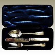 Christening Presentation Set Spoon Fork Silver Ferrell Hallmark 1911 Knife Engraved Edwardian Vine Leaf Blade MOP Handle Box Regal Violet Blue Velvet Silk
