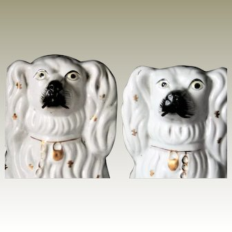 Staffordshire England Spaniel Comforter Dogs White Victorian Pottery Gold c1855
