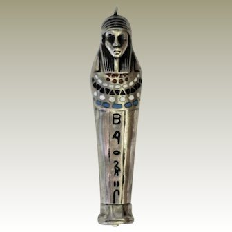 Silver Sterling Enamel Art Deco Egypt Revival Pharaoh Mummy Propelling Pencil
