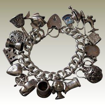 Vintage English Hallmark Sterling Silver Charm Bracelet Cancer Crab Horoscope