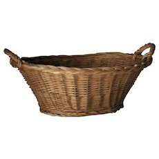 Cane Wicker Hand Woven Bakers Bread Basket Vintage