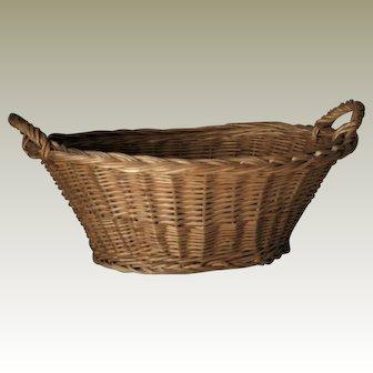 Cane Wicker Hand Woven Bakers Bread Basket Vintage