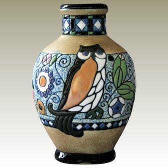 Amphora Bohemia Owl Art Crafts Faience Enamels Teplitz Amphorawerke Riessner
