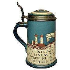 Title :   Mettlach Villeroy&Boch Pottery Stoneware 1Litre Beer Stein Tankard Pewter Munich              Bavaria Germany White Black Blue Grey Cream Brown Yellow Ochre
