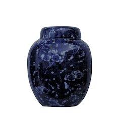 England Pottery Lid Jar Print Chinoiserie Prunus Blossom Flow Blue Bisto Bishop Stonier Hanley Staffordshire c1890's