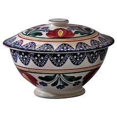 Sponge Ware Pottery Lidded Bowl Antique North European Holland Germany France UK  Folk Art Primitive