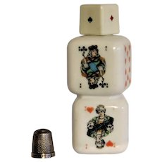 Vintage 1950 Italian Liqueur Buton Cherry Reserve Bottle Opaque White Milk Glass Poker Dice Cube Playing Cards Maker ASS Veccnia Romagna