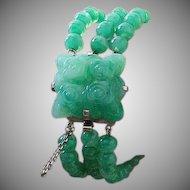 Jade Glass Bracelet Silver Art Deco Vintage.