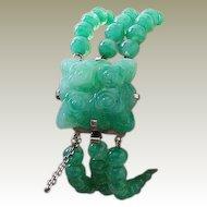 Peking Glass Mottled Apple Green Faux Jadeite Chrome Bracelet Art Deco Vintage.