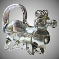 Glass Pig Gin Flask Antique