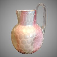 Bohemian Czech Harrach Art Glass Vase Pitcher Atlas Rainbow Mother-of-Pearl MOP c 1875