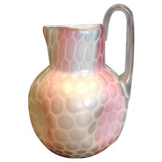 Bohemian Czech Harrach Art Glass Vase Pitcher Atlas Rainbow Mother-of-Pearl MOP c 1875