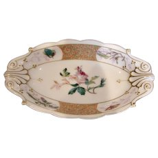French Haviland Limoges Small Relish Tray Meadow Visitor Butterflies Rose c 1876 - 1880