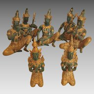 Indonesia Bali Set 7 Metal Bronze Figures Seated Hindu Musicians Green and Gold c 1980