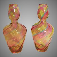"English Pair Rainbow Art Glass 8 ½"" Vases Gourd Shape Ribbed Gorgeous Colors c 1900"