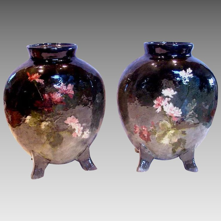 French Haviland Limoges Pair Barbotine Vases Signed By Auteuil