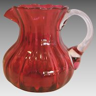 "American Small 5"" Cranberry Art Glass Pitcher Ribbed Polished Pontil c 1900"