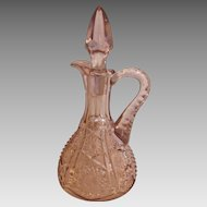 American Pale Purple Amethyst Art Glass Cruet Early American Pressed Glass EAPG c 1850 - 1890