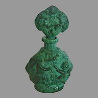 Bohemian Czech Green Jade or Malachite Art Glass Perfume Bottle w Bacchus Winged Cherubs Plucking Grapes Schlevogt Hoffman Ingrid c 1935