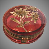 Bohemian Czech Small Cranberry Art Glass Patch Box w Coralene Daisy Flowers c 1890