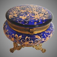Bohemian Czech Cobalt Blue Art Glass Box Metal Feet Hand Enameled c 1890